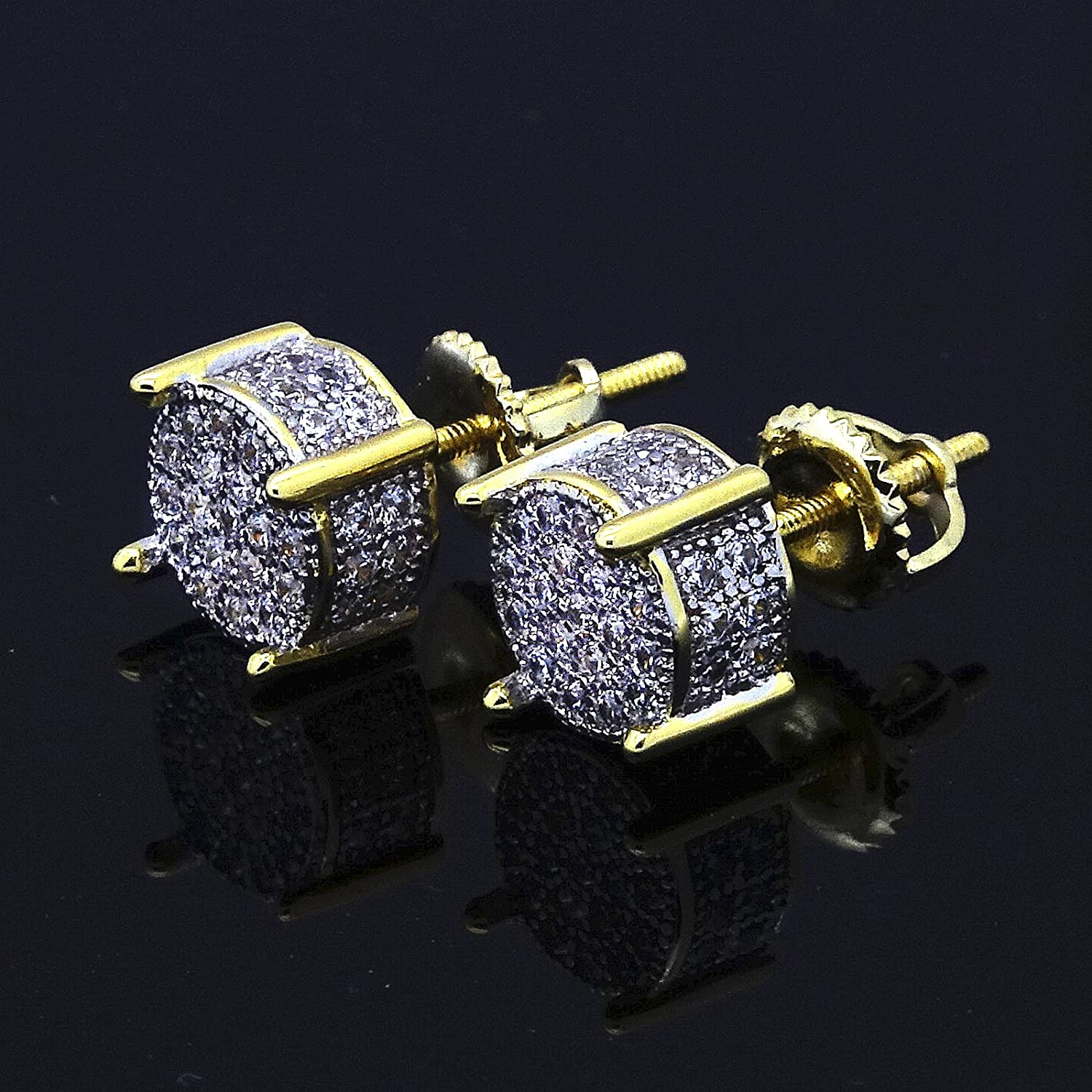 Amazon Mens Gold TwoTone ICED OUT Cz Micropave Earring Stud