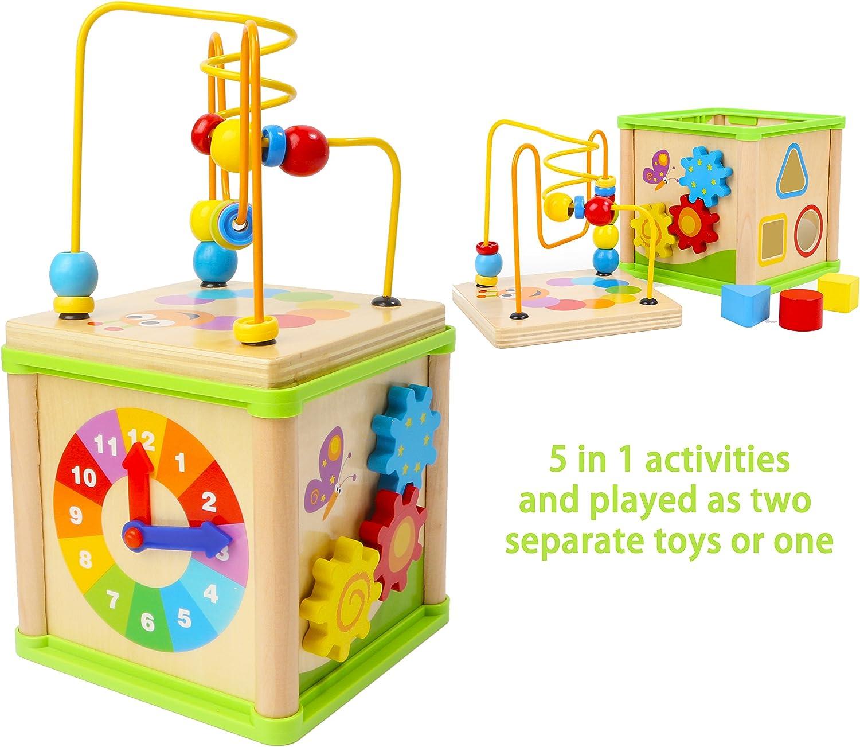 TOWO Laberinto de Cuentas Juguete de Madera - Centro de Actividades de Madera con laberinto de madera, reloj de aprendizaje y juguete de montaña rusa - 5 en 1 cubo de actividades para bebes