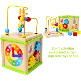 Toys of Wood Oxford Wooden Activity Centre and Bead Maze Activity Cube for Babies Toddlers Beads Maze TW-Beads Maze