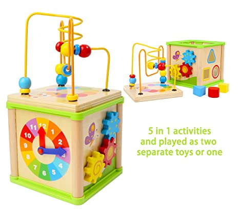 Towo Wooden Activity Cube Beads Maze 5 Activities In One Roller Coaster Beads Maze Early Educational Toys For Baby Educational Wooden Toys For 1
