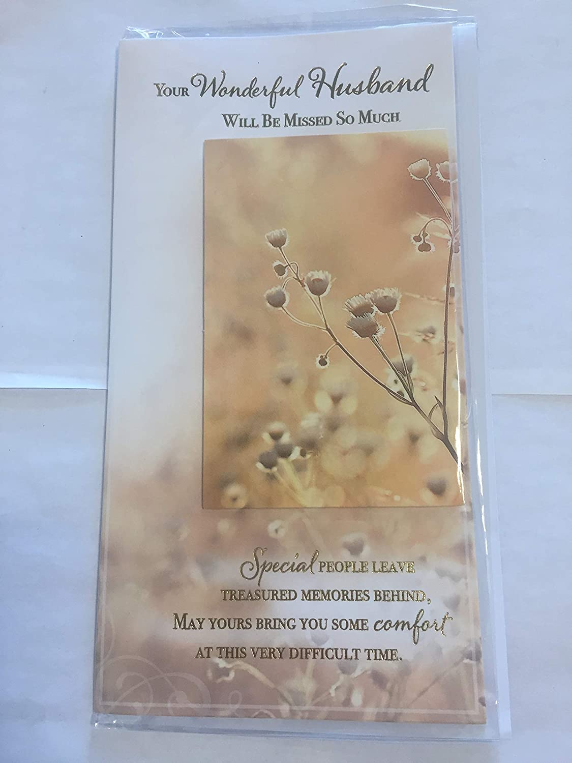 Your Wonderful Husband Will Be Mised So Much Husband Sympathy Card Condolence White//Gold Flowers//Words 3D//Foil Detail