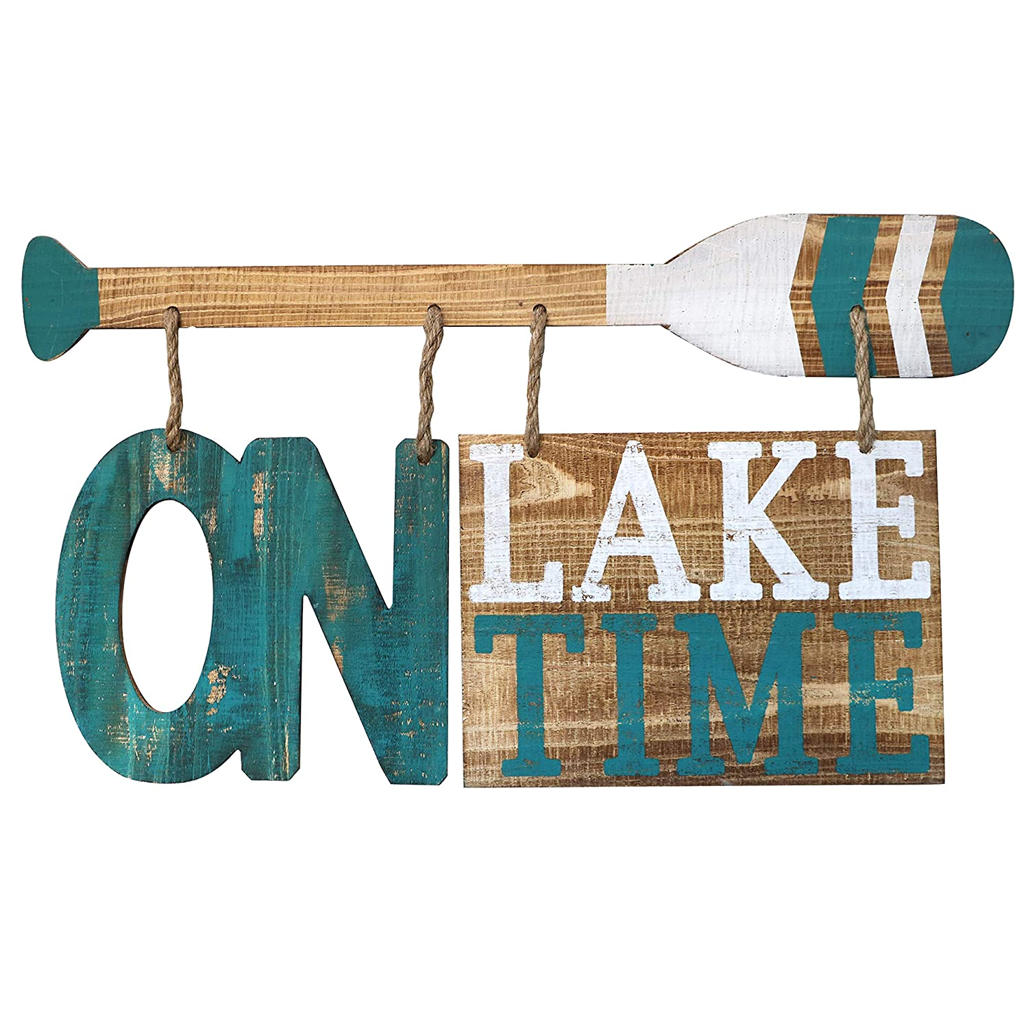 "Barnyard Designs On Lake Time Wooden Sign Rustic Vintage Primitive Lake House Home Decor Sign 23.75"" x 13"""