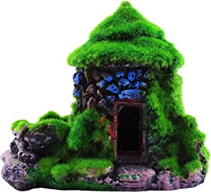 M2cbridge Aquarium Decorations Fish Hideout House Betta Cave with Green Lifelike Moss
