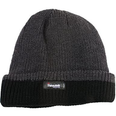 92fdd6268a3 Thinsulate Two Tone Beanie Hat - Grey Black  Amazon.co.uk  Clothing