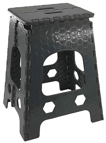 Hocker mit Griff ver Campinghocker Stabiler Tritthocker//Klapphocker zusammenklappbat Gro/ß - 36 x 32 x 46 cm H/öhen bis 120kg Sitzhocker aus Kunststoff anthrazit