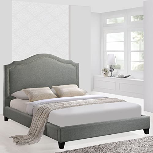 Modway Charlotte Fabric Upholstered Queen Platform Bed With Nailhead Trim in Gray
