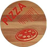 "Bisetti BT-26823""Pizza"" Beech Wood Round Cutting Board, 11.8"", Brown"