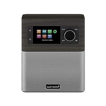 sonoro Stream Radio Internet (FM/Dab+/WiFi, AUX-in, Bluetooth, Spotify  Connect) chêne Noir/Argent- Radio numérique - Salle de Bain, Cuisine