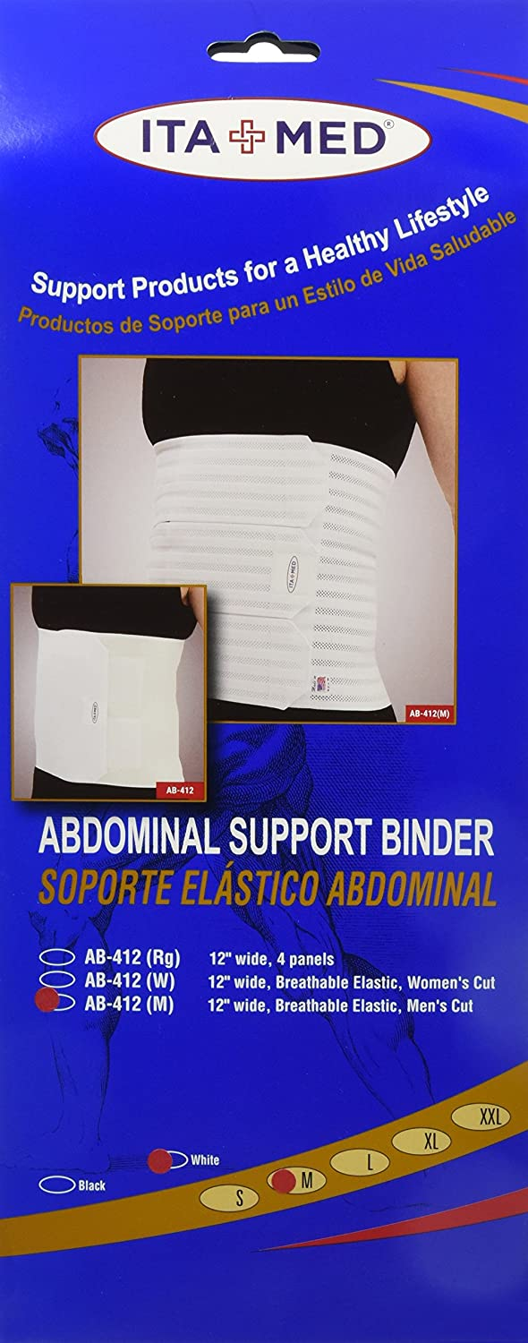Amazon.com: ITA-MED AB-412(M) Breathable Elastic Abdominal Binder Suppprt for Men 12 Inch Wide: Black Large: Health & Personal Care