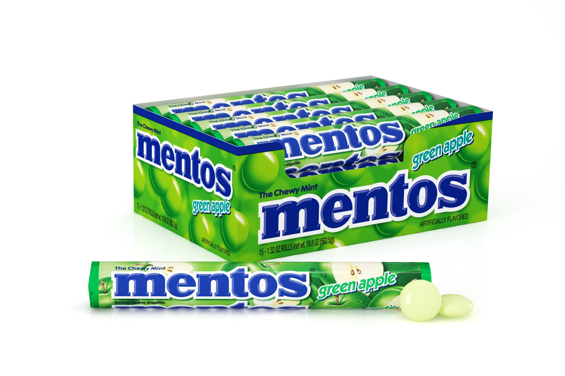 Mentos Chewy Mint Candy Roll, Green Apple, Easter Basket Candy, 1.32 ounce/14 Pieces (Pack of 15)