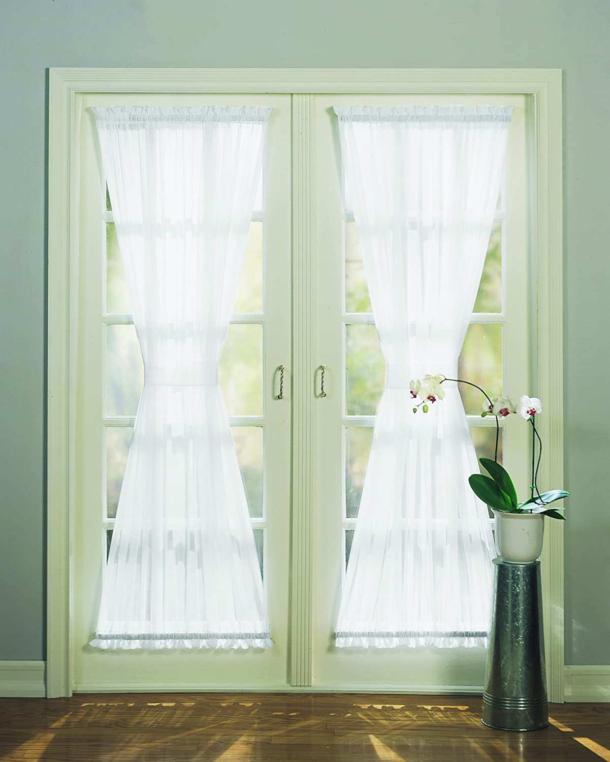 918 emily sheer voile single curtain door panel with tie back kitchen dining - Door Panel Curtains