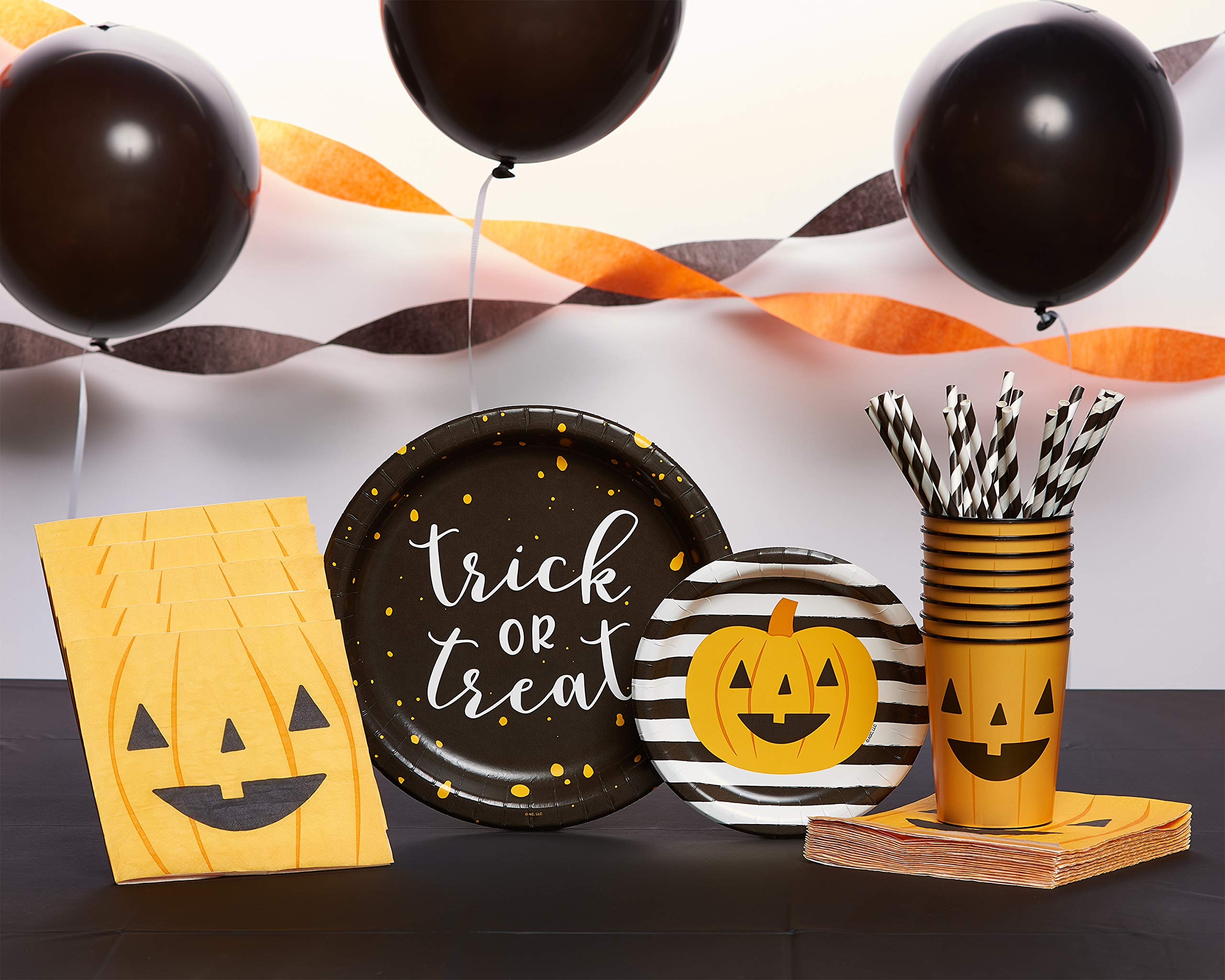 American Greetings Halloween Party Supplies Bundle, Plates, Cups, Napkins, Balloons, Streamers and Table Cover (232-Count) by AMERICAN GREETINGS