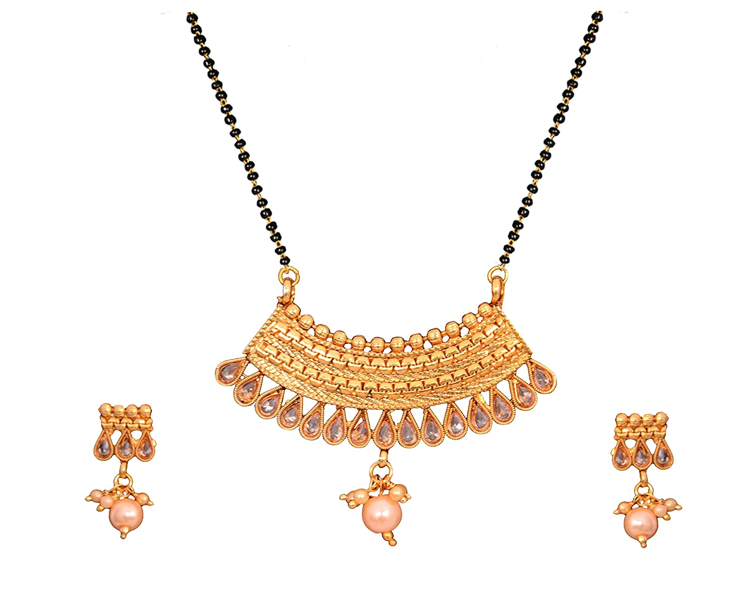 42570b4481 Buy Sitashi Imitation Jewellery Gold Plated Antique Mangalsutra/Tanmaniya  Set for Women with Long Chain (Golden-Brown) Online at Low Prices in India  ...