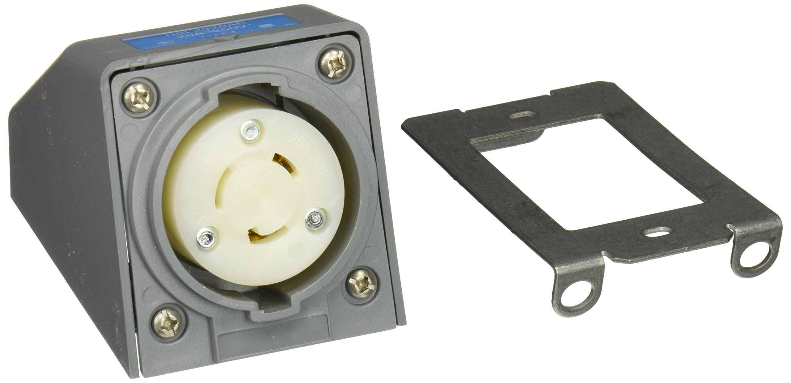 Hubbell HBL2320AR Locking Safety Shroud Receptacle, Angled Surface Mount, L6-20R, Gray