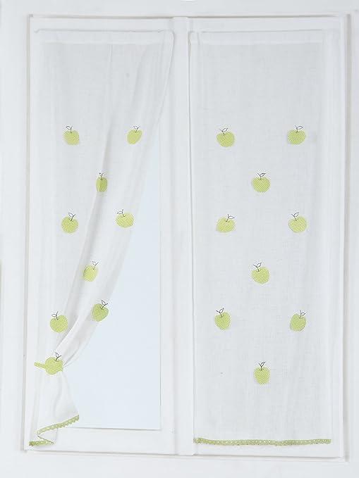 Coppia Tende tendine per vetri finestra arredo cucina 60x150 cm Mela ...