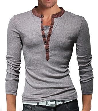 882bb8c98f97 WSLCN Homme Henley Shirt de Loisir Manches Longues 2 en 1 T-Shirt Moulant  Gris