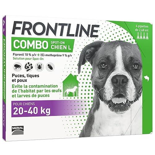 FRONTLINE Combo Chien - Anti-puces et anti-tiques pour chien - 20-40kg - 4 pipettes
