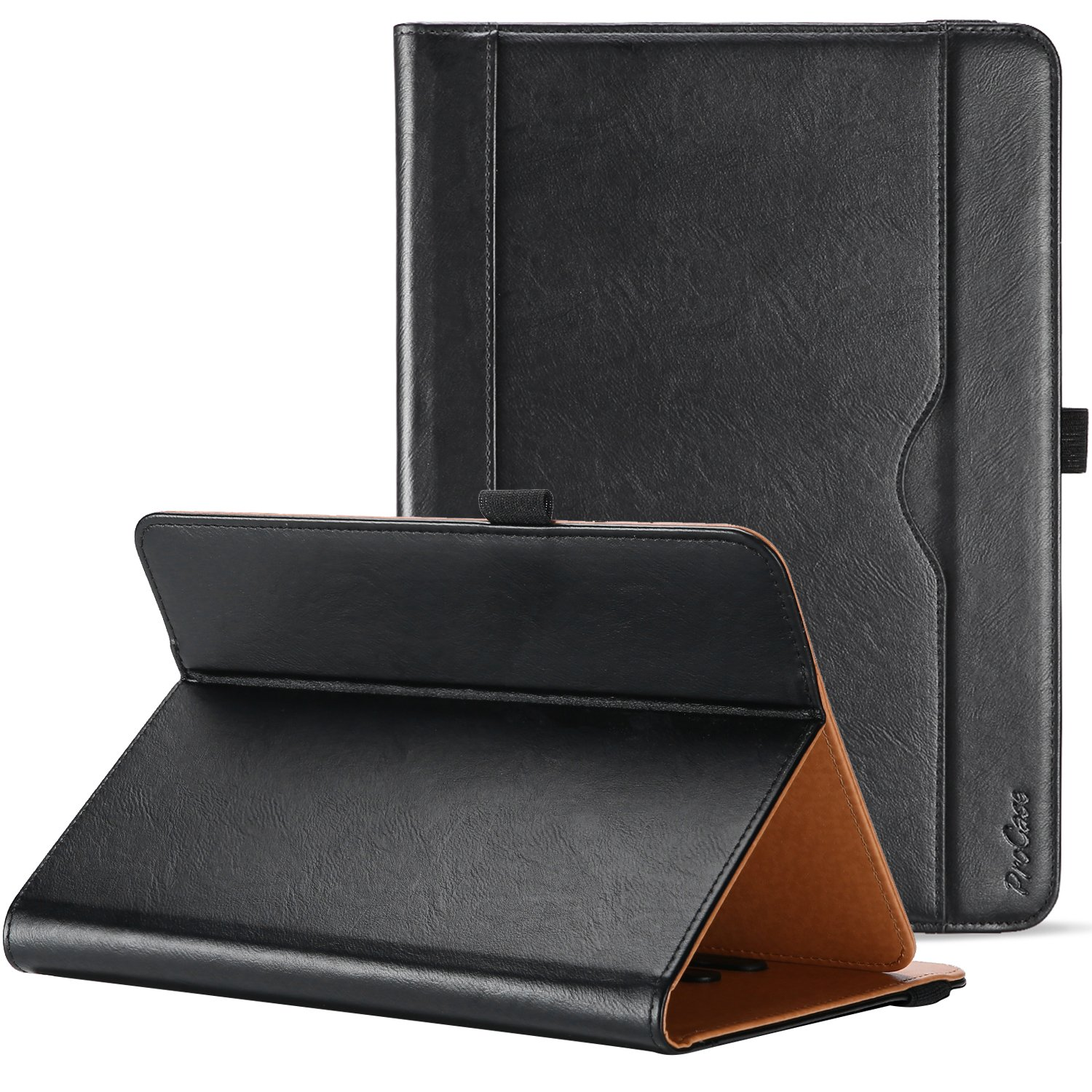 ProCase Universal Case for 9-10 inch Tablet, Stand Folio Case Protective Cover for 9'' 10.1'' Touchscreen Tablet, with Multiple Viewing Angles, Document Card Pocket and Bonus Stylus Pen – Black by ProCase (Image #1)
