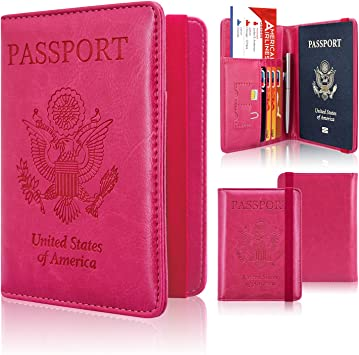 Passport Holder Wallet Hot Pink ACdream Protective Premium Neck Case for Passport Wallet with RFID Blocking for Security