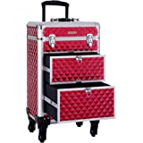 SONGMICS Rolling Trolley Makeup Train Case, With Large Sliding Drawers, with Removable Dividers, 4 Removable Universal Wheels for Easy Portable Travel, Lockable Aluminum Case (XL, Red) UJHZ08RD