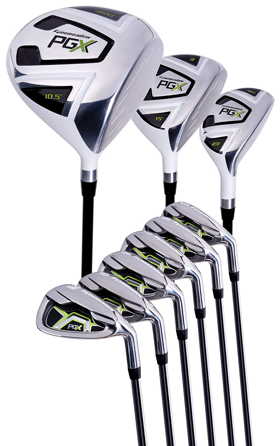 Pinemeadow Mens PGX Golf Set-Driver, 3 Wood, Hybrid, 5-PW ...