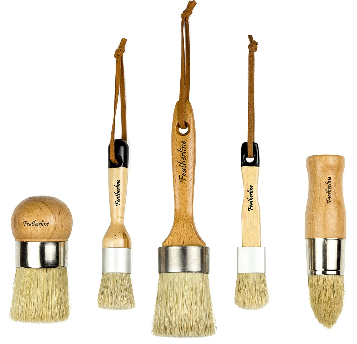 Featherline Series Pro Advanced Chalk Paint & Waxing 5 Brush Set | Top Results for Wax and Painting Projects | Use with Annie Sloan, Folkart, Renaissance, Brossum, Rustoleum, Sidewalk, Roseart 4336890335