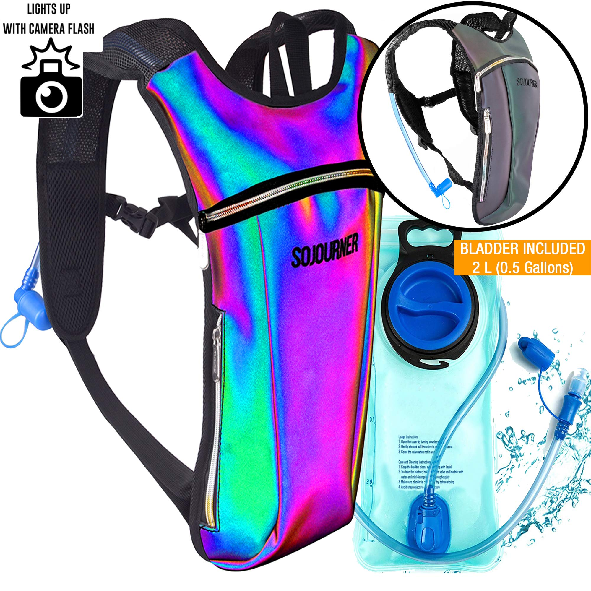 Sojourner Rave Hydration Pack Backpack - 2L Water Bladder Included for Festivals, Raves, Hiking, Biking, Climbing, Running and More (Small) (Luminous - Green) by SoJourner Bags