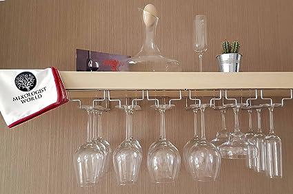 Wine Glass Rack Under Cabinet Storage   Hanging Wine Glass Holder With  Polishing Cloth   Glass