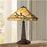 Budding Branch Mission Tiffany Style Table Lamp Bronze Brown Metal Antique Copper Glass Art Shade Decor for Living Room Bedro