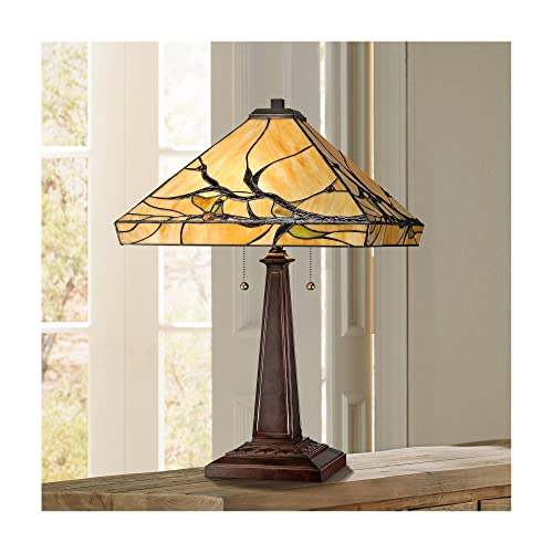 Budding Branch Mission Table Lamp Bronze Metal Antique Glass Art Shade for Living Room Family Bedroom Bedside Office – Robert Louis Tiffany