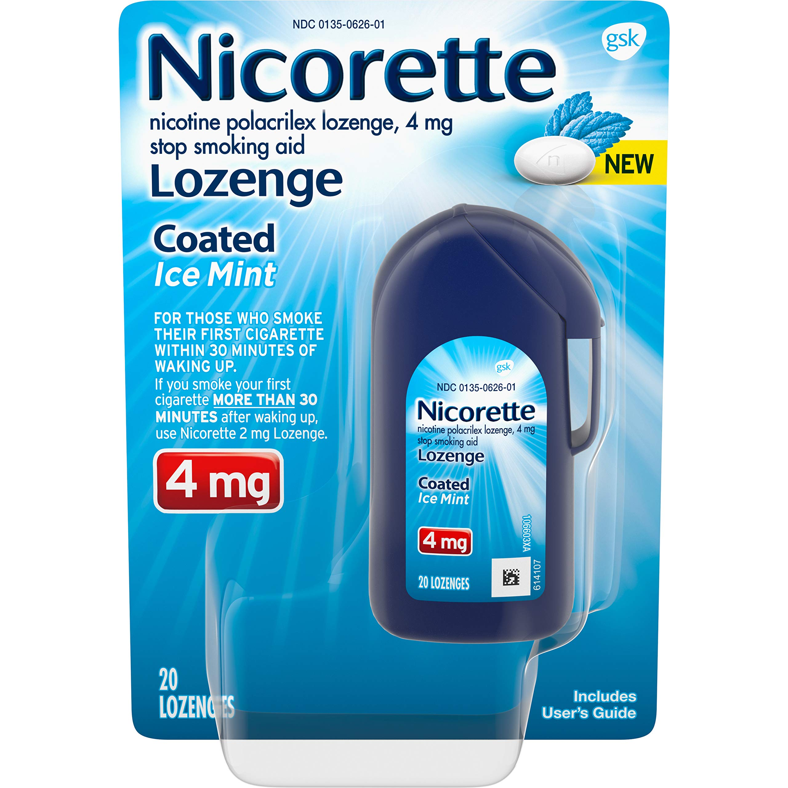 Nicorette Coated Nicotine Lozenge to Stop Smoking, 4 Mg, Ice Mint, 20Count