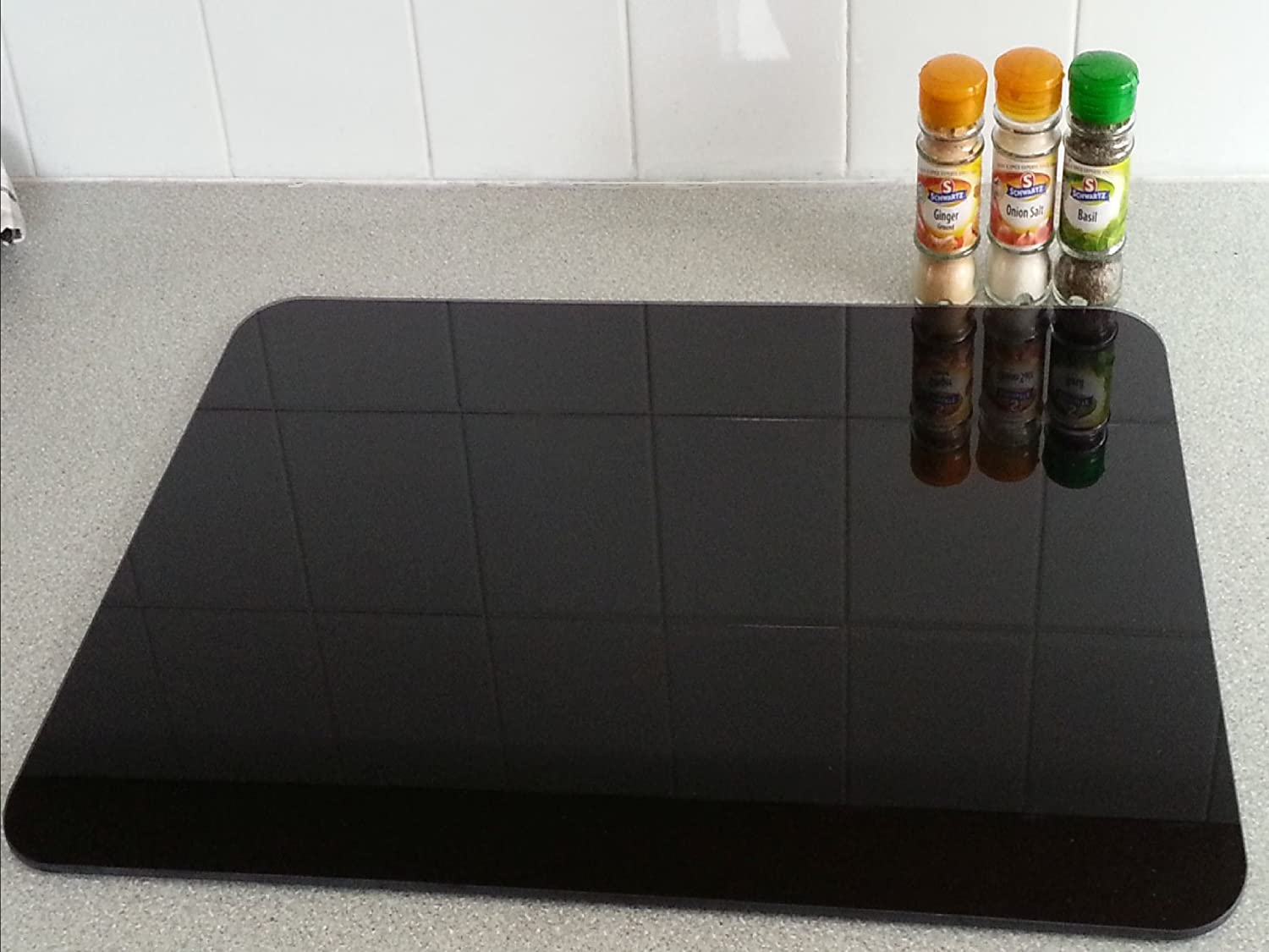 Black Smooth & Flat Float Glass Worktop Saver - 60 x 40cm by Pearl Glass Extra Large