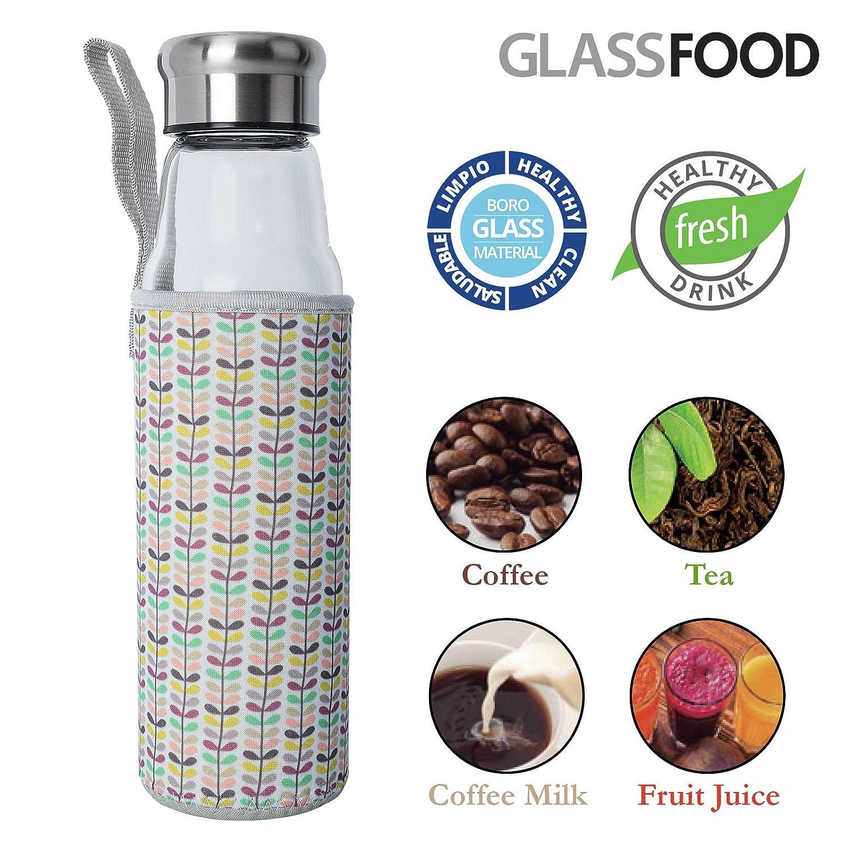 GlassFood Botella de Vidrio de 550ml con Funda de Neopreno y Tapon ...