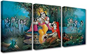 Hindu Goddess Canvas Wall Art for Living Room Decor 3 Pieces Religion Indian Oil Painting Kitchen Wall Decor Hinduism Religious Wall Decorations for Living Room Wall Pictures Artwork 42x20 Inch
