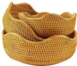 Fruit Baskets Bread Bowl Food Storage In Kitchen Room Small To Large Vintage Decorative Rattan Wicker Basket Serving Snack Key Holder (3 Sizes Kit: S+M+L, Honey Brown)