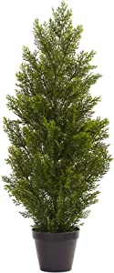 Nearly Natural 3' Mini (Indoor/Outdoor) Cedar Pine Tree, 3', Green