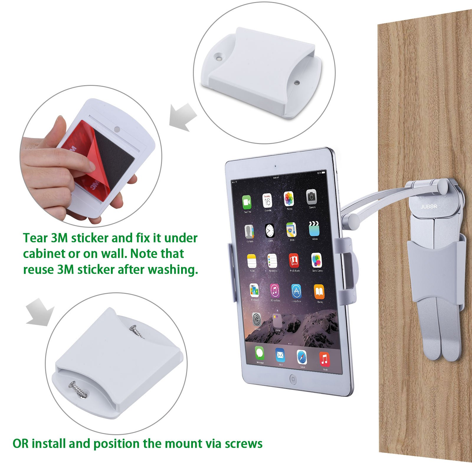 Jubor iPad Stand Wall Mount, 2-in-1 Kitchen Tablet Holder for iPad Pro, Surface Pro, Nintendo Switch, iPad Mini, 7''-12'' Tablet, Adjustable Easy Install 360° Rotating CounterTop Desk Recipe by Jubor (Image #5)