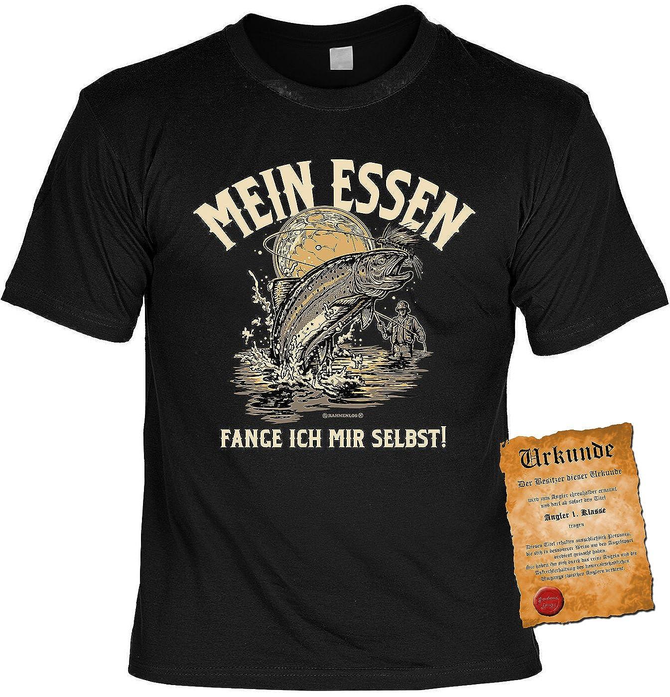 Bekleidung Angler Geschenk-Shirt Angler-Motiv : Mein Essen fange ich Mir selbst Angler Spr/üche T-Shirt Anglershirt Angelsport Hobby-Angeln