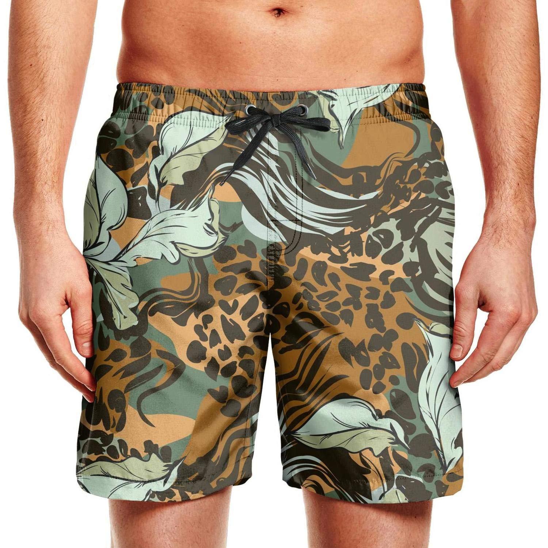 Fashion Swim Shorts for Men Leopard Pattern Silk Scarf Design Swimming Trunks Quick Dry Mens Beach Shorts Swimtrunks