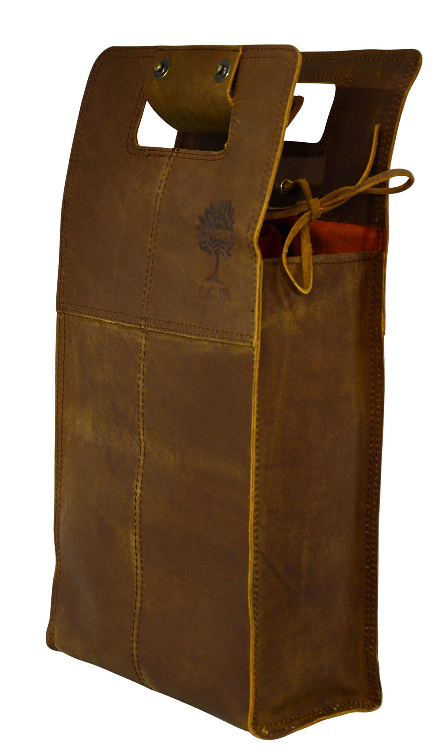 Double Wine Bottle Carrier Bag Leather Bottle Holder Tote Reusable Gift Bag Champagne Case, Valentines Gift Bag by ECOCRAFTWORLD (Image #3)