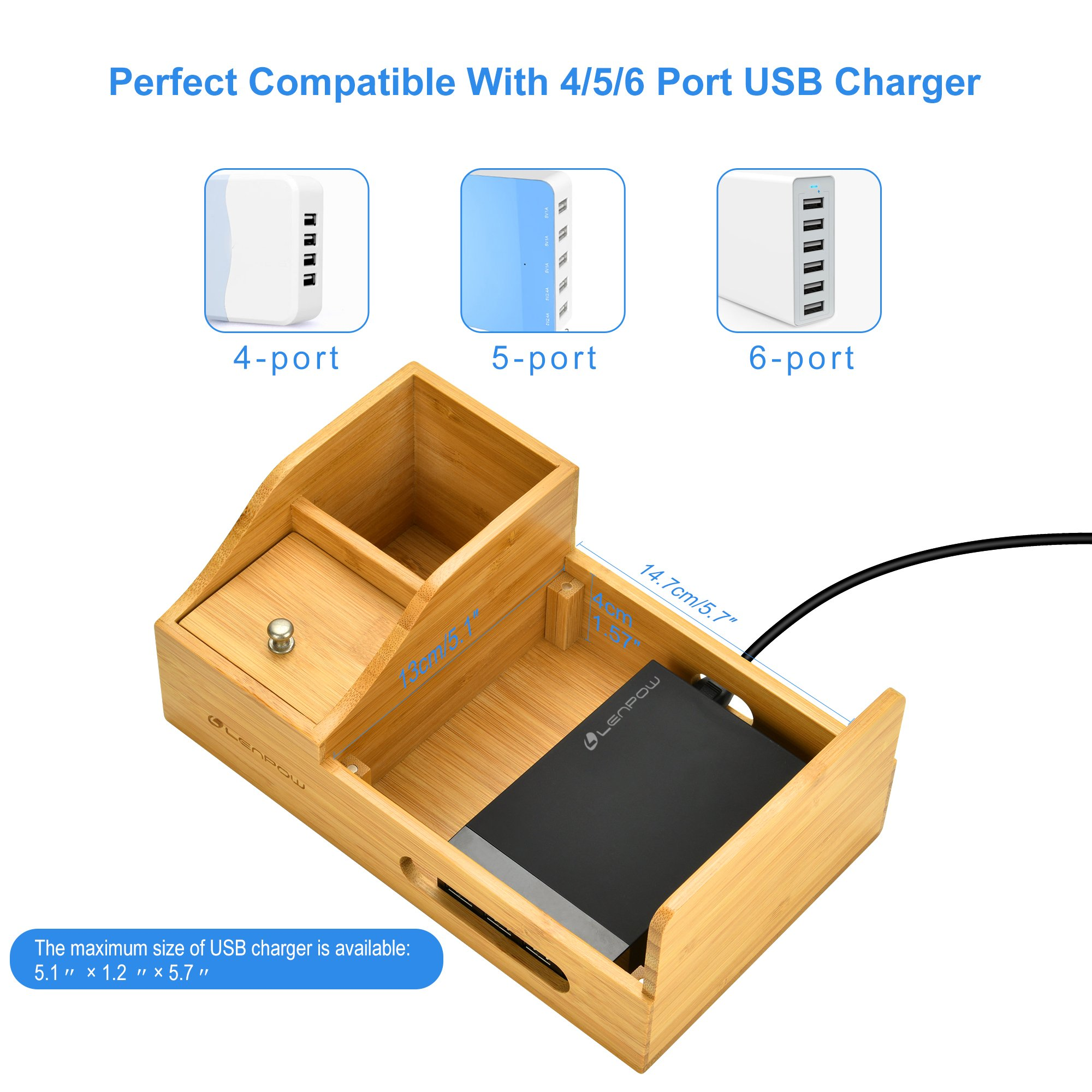 Charging Station,Firstbuy Bamboo Charging Dock Multi Device Charging Stand Cable Cords Desktop Organizer,Compatible with Most of the 4/5/6 Port USB Charger for Smartphones and Tablets