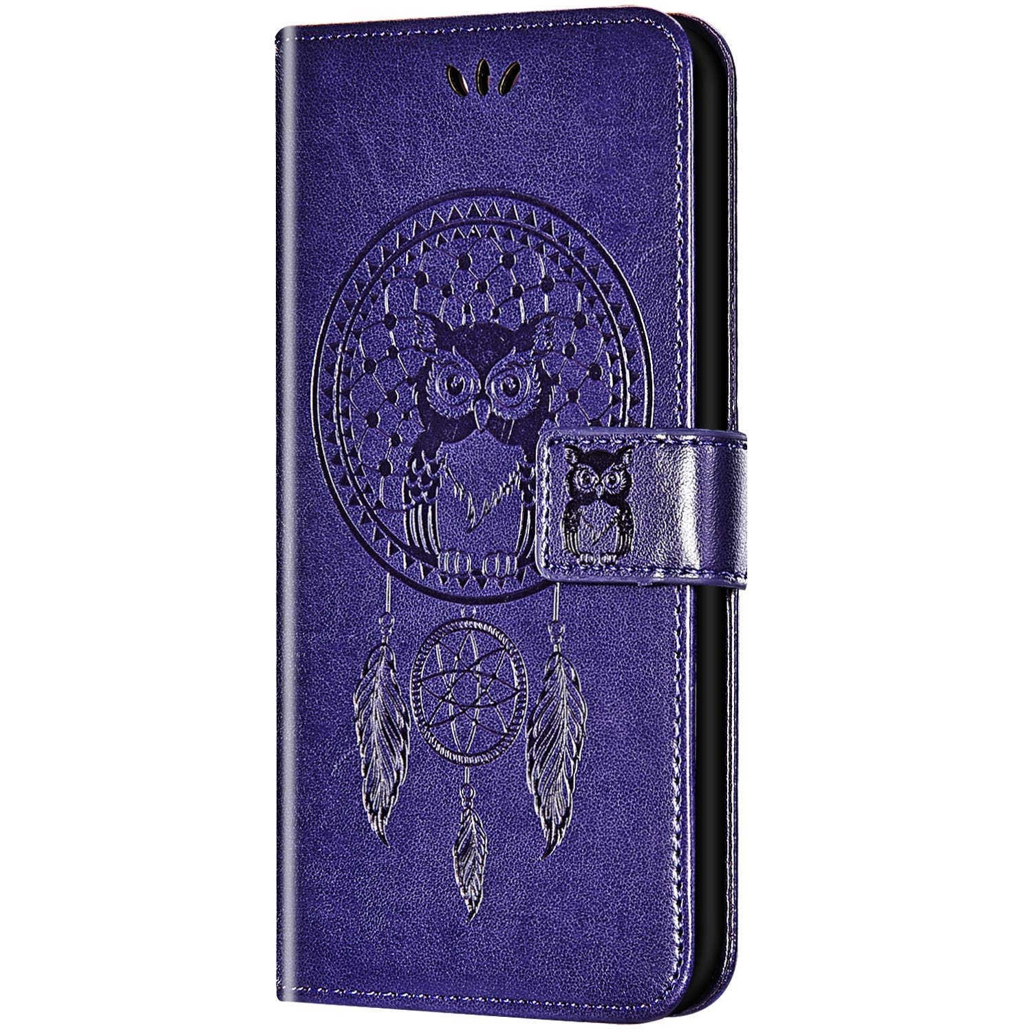 Case for Galaxy S10 Plus Flip Case Ultra Slim PU Leather Wallet with Card Holder/Slot and Magnetic Closure Shockproof Cartoon Animal Owl Embossed Protective Cover for Galaxy S10 Plus,Purple by ikasus