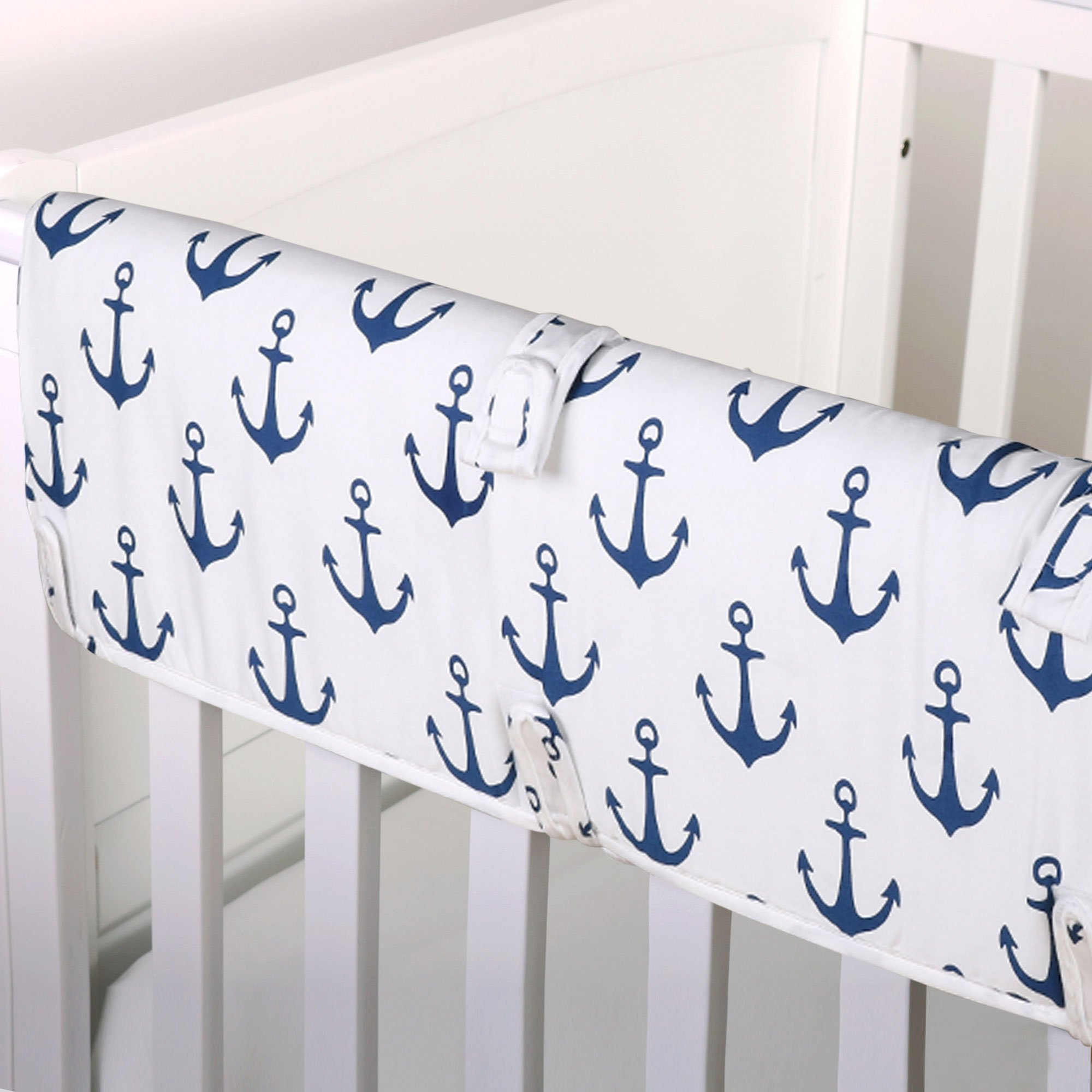 Navy Blue and White Nautical Cotton Padded Crib Rail Guard by The Peanut Shell by The Peanut Shell