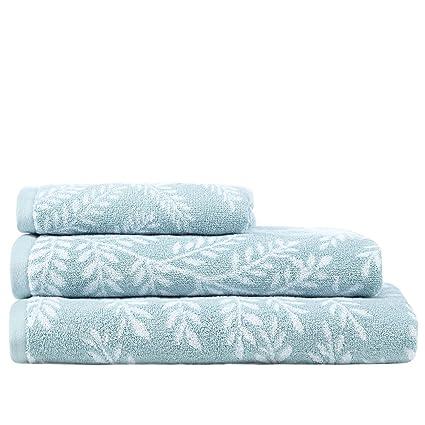 Home collection turquesa toallas de impresión de helecho, algodón, agua, de mano