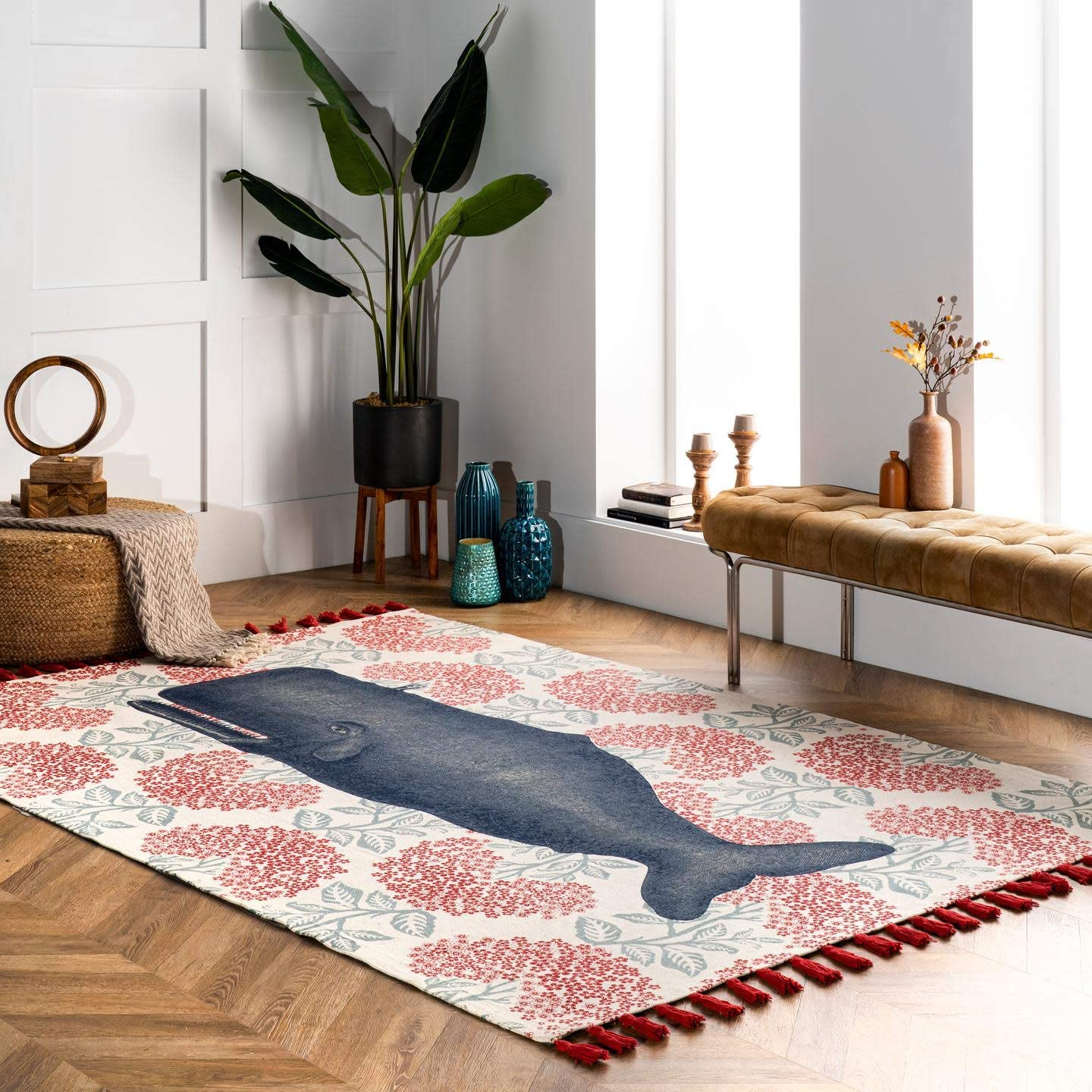 Best living room rug: nuLOOM Thomas Paul Printed Flatweave Cotton Fabled Whale Area Rug