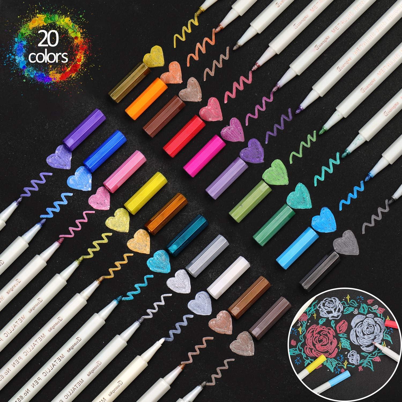Rotuladores Metálicos,20 Colores Surtidos Marker Pen para Album de Fotos los Libros para Colorear Adultos Tarjeta de Regalo
