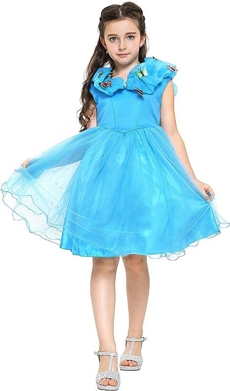 Katara - Disfraz de Cenicienta vestido de hadas con mariposas para ...