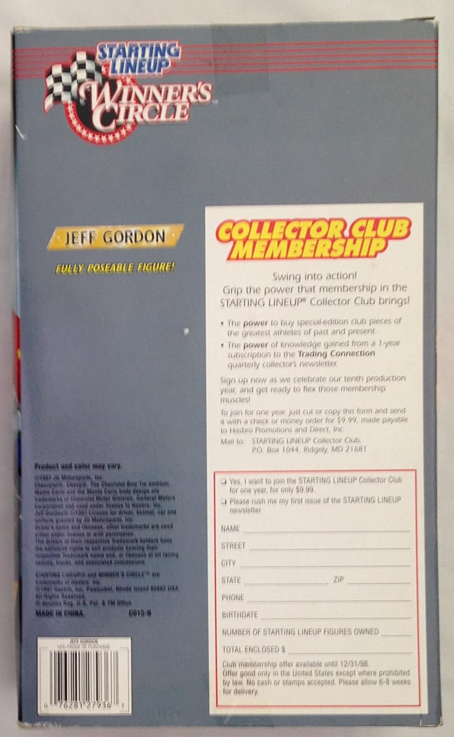 Jeff Gordon Dupont Winners Circle Starting Lineup NASCAR 1.5 Tall Fully Poseable Action Figure Dated 1997