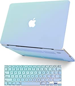 """KECC Laptop Case for MacBook Air 13"""" Retina (2020/2019/2018, Touch ID) w/Keyboard Cover Plastic Hard Shell Case A1932 2 in 1 Bundle (Green Serenity Blue)"""