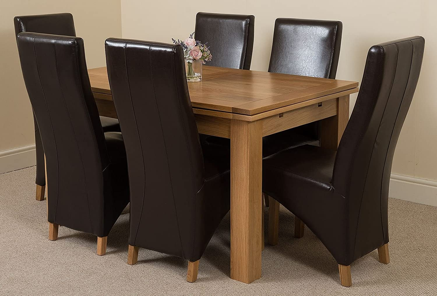 Modern furniture direct richmond medium extending solid oak dining table and 6 brown leather chairs 100 solid oak 140cm 220cm extending fast